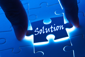 Puzzle piece with the word Solutions