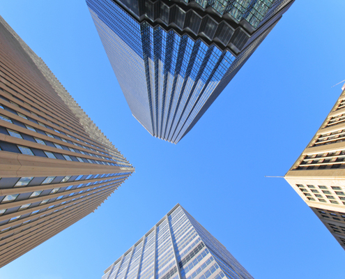 Image of looking up at tall buildings