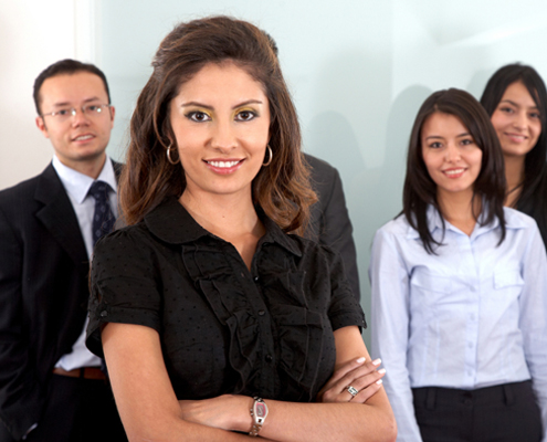 Women and Men in business suits