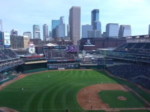 MN Twins Baseball Field with the city in the background