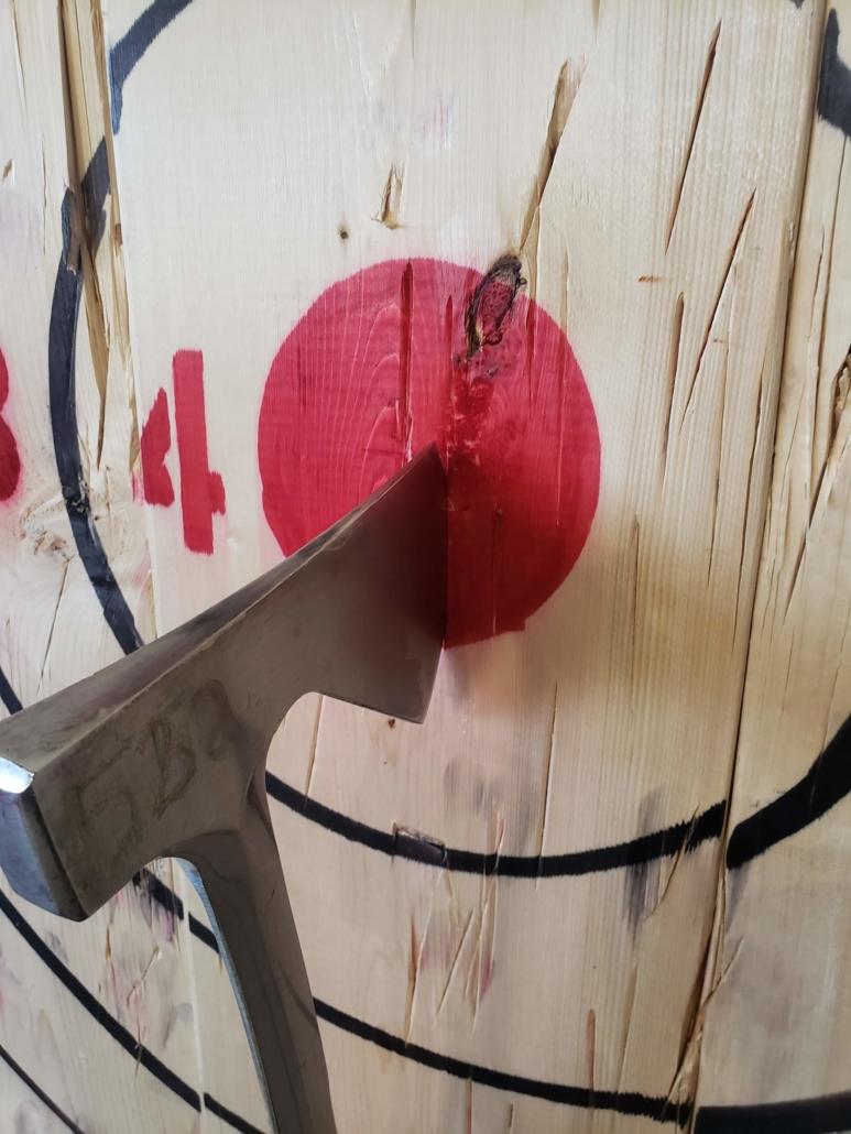 An axe in a target